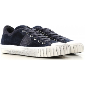 Philippe Model women's sneaker in blue calf leather with white rubber sole