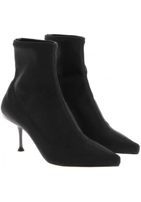 Sergio Rossi women midcalf booties in black Tech fabric with metallic heel