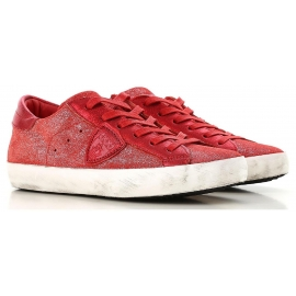 Philippe Model women's sneaker in red calf lethar with white rubber sole