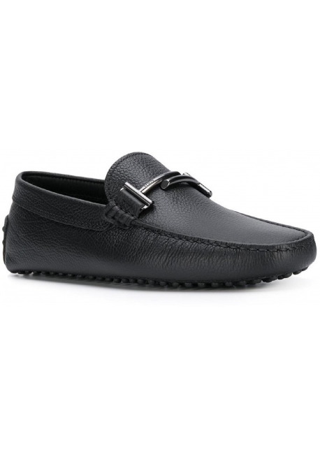 Tod's men's loafers in black Leather with metal buckle