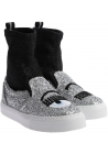 Chiara Ferragni Women's High-top sneakers in silver and black glitter fabric