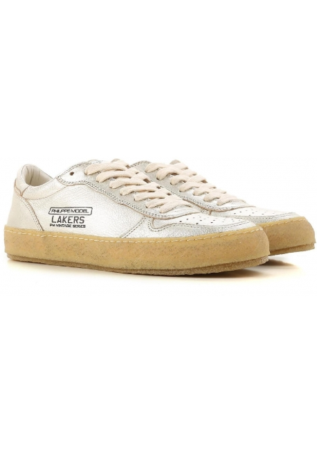 Philippe Model women's sneakers in Platinum laminated Leather with vintage sole