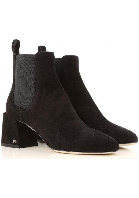 Dolce&Gabbana women's ankle boots in dark brown suede with large heel