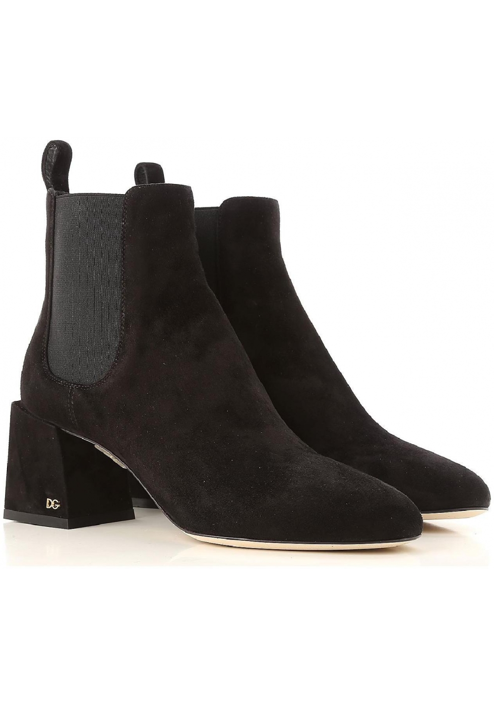 Dolce Amp Gabbana Women S Ankle Boots In Dark Brown Suede With Large Heel Italian Boutique