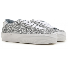 Chiara Ferragni women's sneakers in silver Glitter with high platform