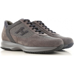Hogan interactive men's sneakers in brown suede and Gray Fabric