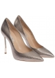 Casadei women's classic pumps in platinum leather with stiletto heels
