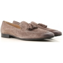 Tod's men's tassel loafer in Medium Gray Suede leather