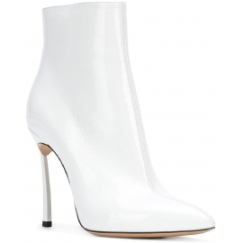 Casadei women's ankle boots in white Patent Leather with stiletto heels