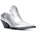 Maison Margiela women's slippers in silver Lamé with cowboy heel