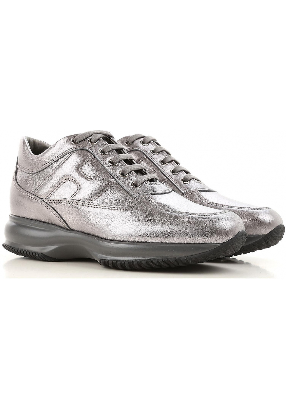 Hogan interactive women's sneakers in silver leather