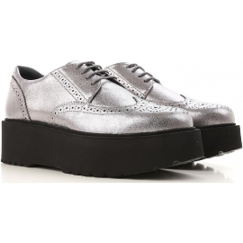 Hogan urban women's lace-ups in silver Leather whit black platform