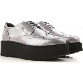 Hogan urban women's lace-ups in silver Leather whit black platform