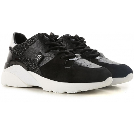 6e1de6ce76 Hogan women's sneakers in black Leather and strass - Italian Boutique