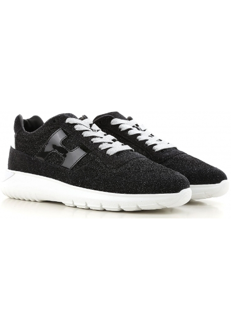 Hogan women's sneakers in glittery black Leather Fabric