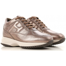 Hogan women's sneakers in brown Laminated calf leather
