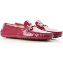 Tod's women's moccasins in Dark Pink Patent Leather with metal buckle
