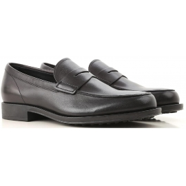 Tod's men's moccasins in black Leather with rubber sole