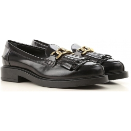 Tod's women's tassel loafer in black Leather whit golden clamp