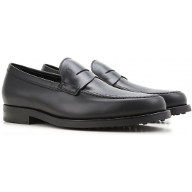 Tod's men's loafer in black Leather with rubber sole