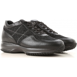 Hogan women's sneakers in black Leather and glitter fabric