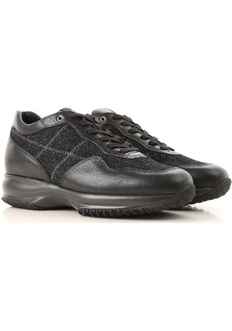 3076b9ba54 Hogan women's sneakers in black Leather and glitter fabric - Italian ...