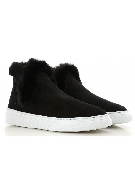 Hogan women's booties in black calf leather with faux fur