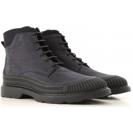 Hogan men's laced up ankle boots in blue nabuk leather
