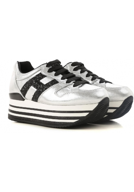 09e46b76c1 Hogan women's sneakers shoes in silver leather and black glitter logo - Italian  Boutique