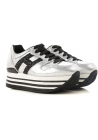Hogan women's sneakers shoes in silver leather and black glitter logo