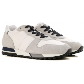 Hogan H383 RUNNING man's sneakers in white fabric and gray suede