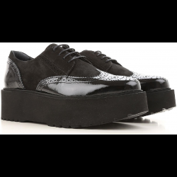 Hogan H355 women's lace-ups in black patent and suede with high sole