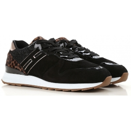 Hogan women's sneakers in black Suede leather with glitter effect