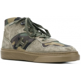 Hogan H365 men's high top sneakers in nabuk leather and camouflage fabric