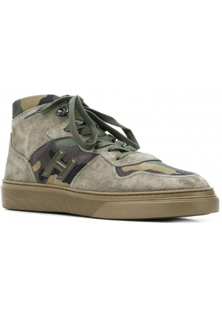 5a1027a677311 Hogan H365 men's high top sneakers in nabuk leather and camouflage fabric