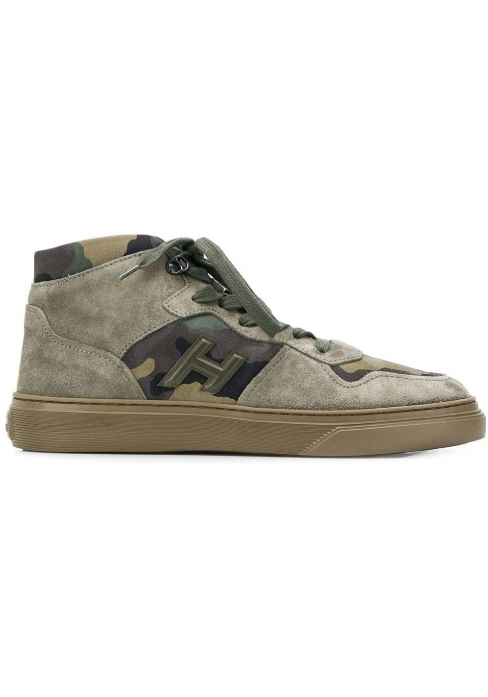 c6e7f68a31a9f ... Hogan H365 men's high top sneakers in nabuk leather and camouflage  fabric ...