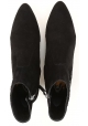 Tod's CUOIO STIV women's black suede booties with pointed toe and low heel
