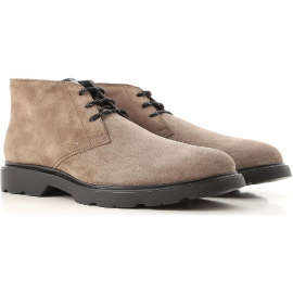 Hogan H393 DERBY man's ankle boots in light brown suede leather