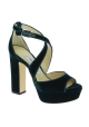 Jimmy Choo heeled sandals with platform in green velvet