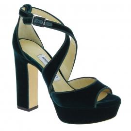 Jimmy Choo heeled sandals with platform in green velvet