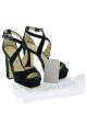 Jimmy Choo women's heeled sandals with platform in green velvet