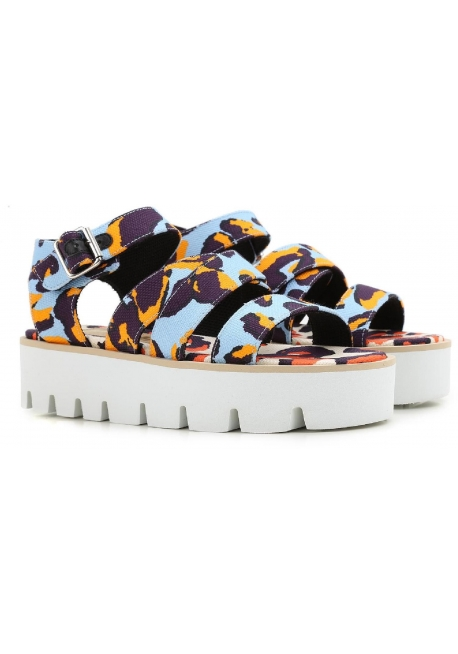 MSGM wedges sandals shoes in multicolor fabric