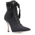 Dolce&Gabbana Women's lace-up stiletto ankle boots shoes in black Tech fabric