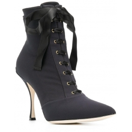 8e98c32b3c Dolce&Gabbana Women's lace-up stiletto ankle boots shoes in black Tech  fabric