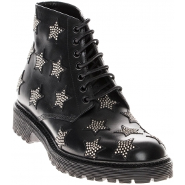 Saint Laurent Women laced-up ankle boots shoes in black calf leather & stars