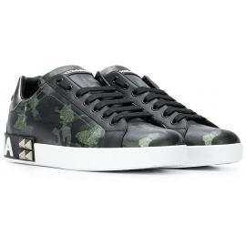 Dolce&Gabbana Men's lace-up sneakers shoes in Camouflage color Calf leather
