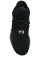 Y-3 Men's lace-up high-top sneakers in black Tech fabric with rubber sole