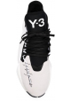 Y-3 Men's lace-up sneakers in black/white Tech fabric with white rubber sole