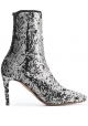 Aquazzura Women's stretch ankle stiletto booties in silver Glitter fabric