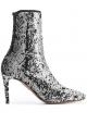 Aquazzura Women's stretch ankle stiletto booties in silver Glitter fabric
